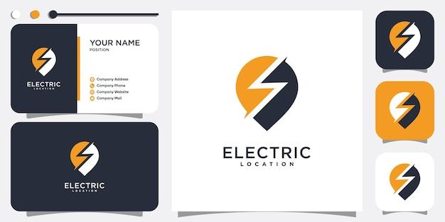 Elektrisches logo mit stiftstandortkonzept premium-vektor
