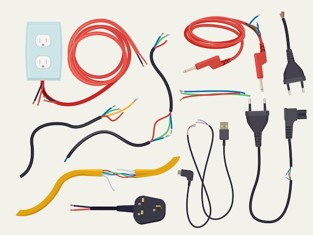 Elektrisches problem. beschädigtes kommunikationskabel mit unterbrochenem stecker unterbrochener elektrischer signalvektor