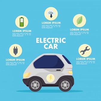 Elektrisches rotes auto mit ikonensatzvektordesign