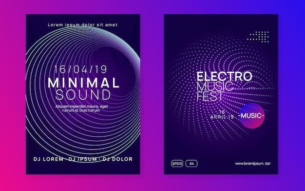 Elektro-event. dynamische verlaufsform und -linie. energieshow-broschürensatz. neon-flyer für elektro-events. trance-tanzmusik. elektronischer klang. clubfest-plakat. techno-dj-party.