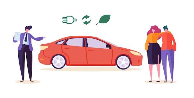 Elektro-öko-auto-verkäufer verkaufen auto-paar. mann frau charakter kaufen ökologie freundliches transportfahrzeug. umweltverschmutzung bewahren technologie automobil business flat cartoon vektor-illustration