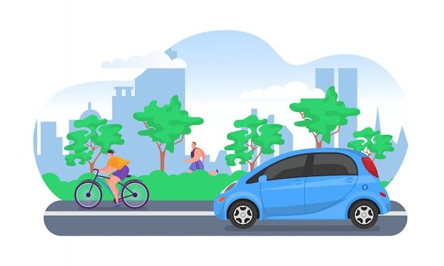 Elektroauto auf stadtstraße, vektorillustration. straße mit umweltfreundlichem transport, elektroautos und fahrrad. moderne technik