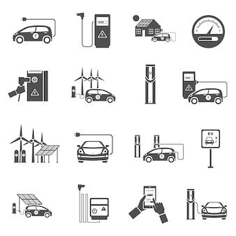 Elektroauto, das die schwarzen ikonen eingestellt auflädt