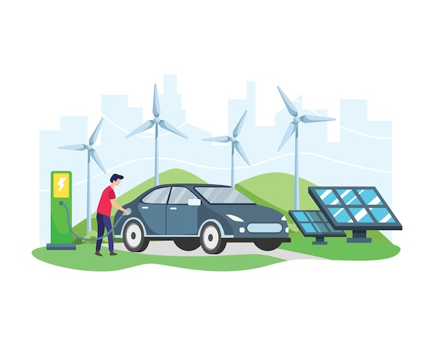 Elektroauto-konzept. mann, der elektroauto an der ladestation vor windkraftanlage und solarpanel auflädt. grünes fahrzeug, ökologisch sauberer transport. im flachen stil
