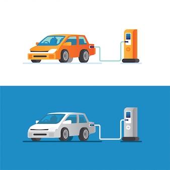Elektroauto lädt seine batterie mit natürlicher landschaft, konzeptillustration für grüne umwelt, ökologie, nachhaltigkeit, saubere luft, zukunft auf. illustration im flachen stil.