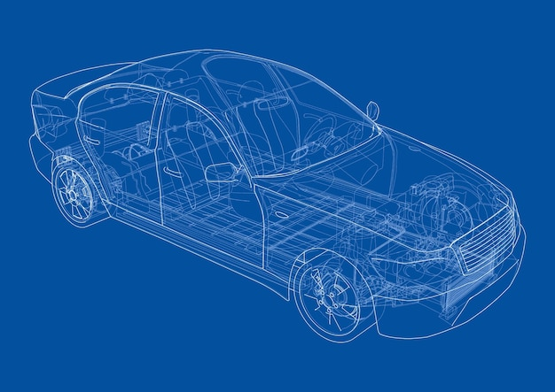 Elektroauto mit fahrgestell. batterie, federung und radantrieb. rendering von 3d. drahtrahmenstil