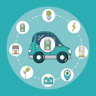 Elektroauto mit runden Symbolen der grünen Energie