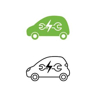 Elektroauto mit schraubenschlüssel-symbol