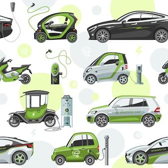 Elektroauto mit sonnenkollektoren öko-elektrotransportillustrationsauto-steckdose elektroautobatterieladegerät nahtloser musterhintergrund