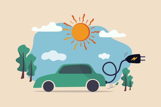 Elektroauto saubere energie umweltfreundlich oder hi-technologie mit wiederverwendbarer solarenergie, um batterie auto zu tanken