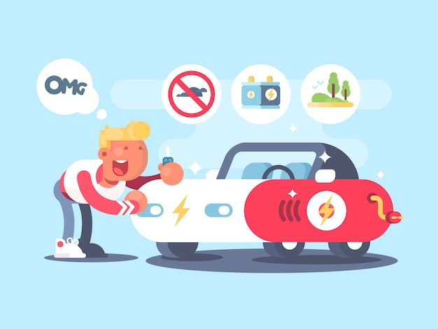 Elektroauto und glücklicher besitzer