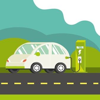 Elektroauto und station