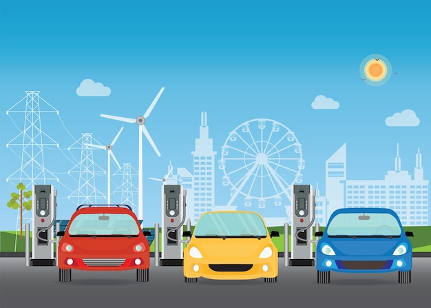 Elektroautos, die an der ladestation laden