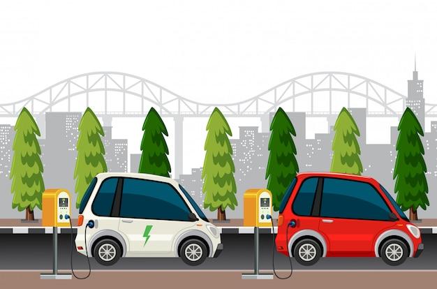 Elektroautos laden szene auf