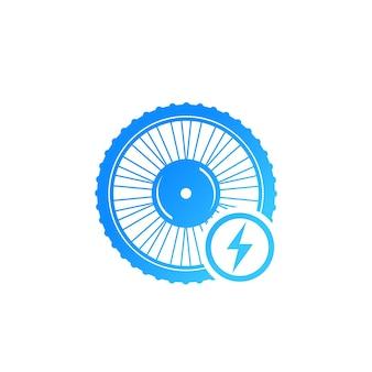 Elektrofahrrad-rad-symbol isoliert auf weiss