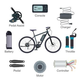 Elektrofahrradvektor-e-bike-transport mit ökologischem zyklusbatterieleistungs-energieillustrationssatz von ebike