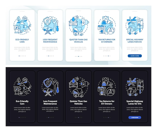 Elektrofahrzeuge plus onboarding-seitenbildschirm der mobilen app. ev-gewinne walkthrough 5 schritte grafische anleitungen mit konzepten. ui-, ux-, gui-vektorvorlage mit linearen tag- und nachtmodus-illustrationen