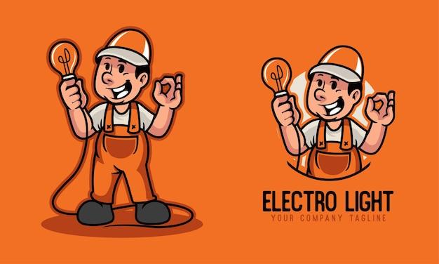 Elektromechaniker, der das glühbirnenmaskottchenlogo hält