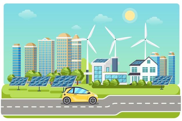 Elektromobil auf der autobahn. elektroauto, elektroauto, windmühlenstadt, solarelektromobil, fahren auf der autobahn. vektorillustration