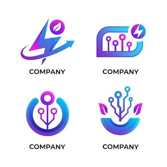 Elektronik-logo-set mit farbverlauf