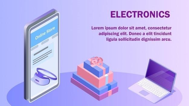Elektronik-online-shop-isometrische banner-vorlage