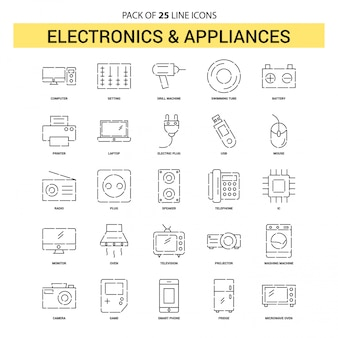 Elektronik- und hausgeräte-linie ikonen-satz - 25 gestrichelte entwurfs-art