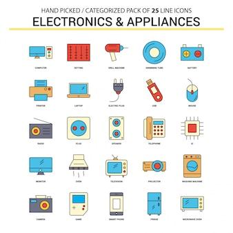 Elektronik und haushaltsgeräte flache linie icon set