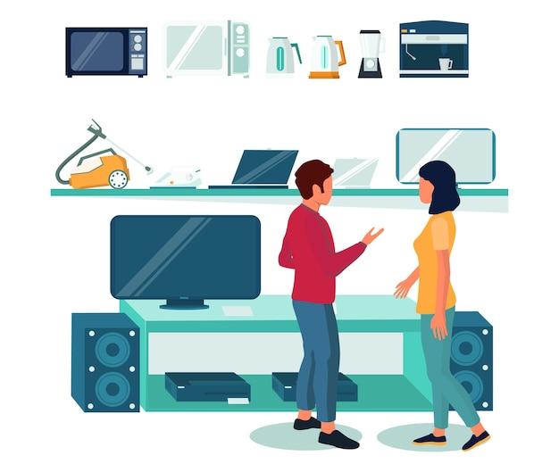 Elektronikgeschäft mit haushaltsgeräten, computern, mobiltelefonen in regalen, verkäufer, käufer, vektorillustration