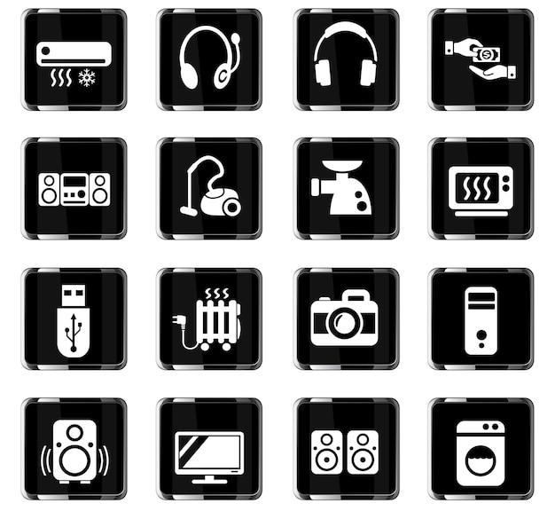 Elektroniksupermarkt-websymbole für das design der benutzeroberfläche