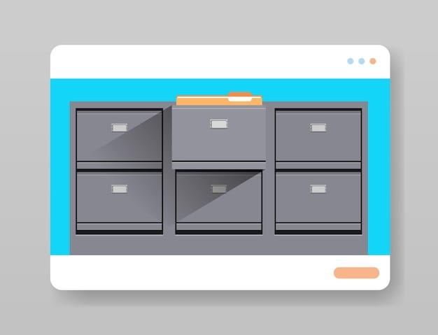 Elektronische aktenarchive digitales kabinett im webbrowser-fensterorganisationsdienst