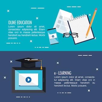 Elektronische bildung mit tablet-vektor-illustration-design