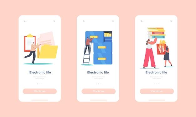 Elektronische dateien organisation mobile app-seite onboard-bildschirmvorlage. winzige zeichen im archivspeicher, datenbank