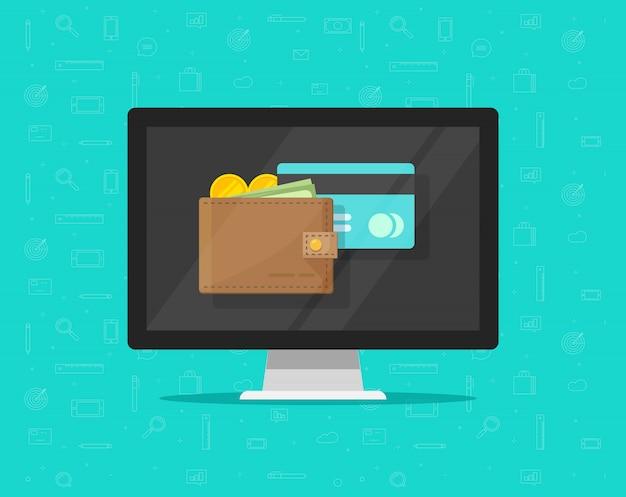 Elektronische geldbörse auf flacher karikatur der computerikone