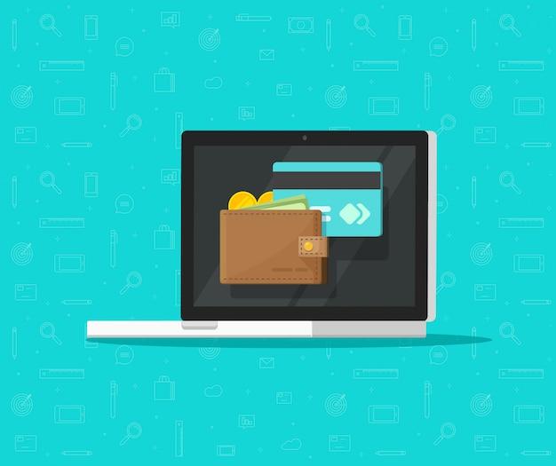 Elektronische geldbörse auf flacher karikatur der laptop-computer oder der digitalen vektorikone des geldes 3d