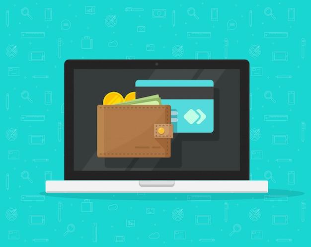 Elektronische geldbörse auf flacher karikatur der laptop-computers oder der digitalen geldvektorikone