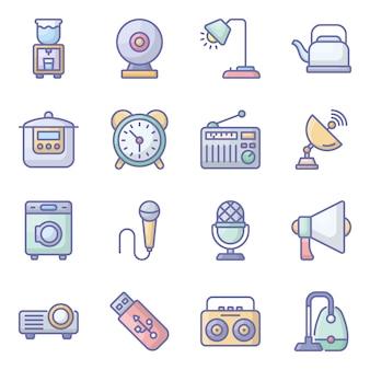 Elektronische geräte flache icons pack