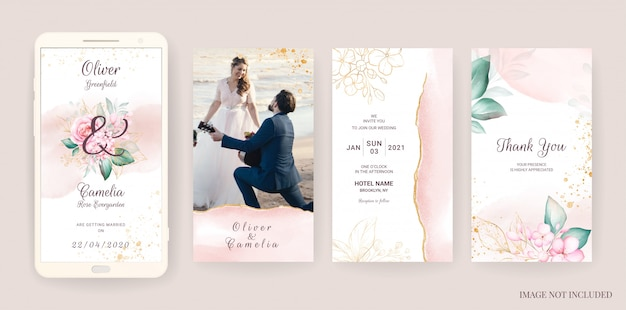 Elektronische hochzeitseinladungskartenschablone gesetzt mit aquarell und goldblumen. blumenillustration für social-media-geschichten