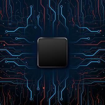 Elektronische leiterplatte mit technischem hintergrund, verbindungslinie und punktelement