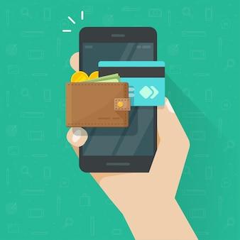 Elektronische mobile geldbörse auf handy-symbol cartoon