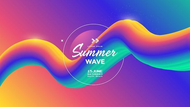 Elektronische musik fest sommerwellenplakat abstrakte farbverläufe wellen musikhintergrund