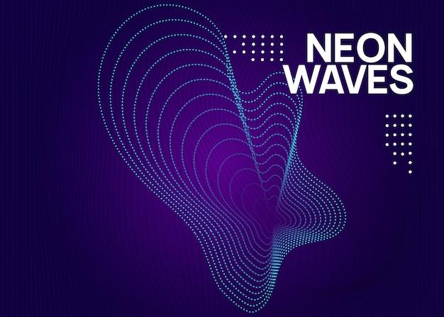 Elektronische partei. dynamisch fließende form und linie. energiediskothek einladungsdesign. neon elektronischer partyflyer. electro-dance-musik. techno-fest-event. trance-sound. club-dj-poster.