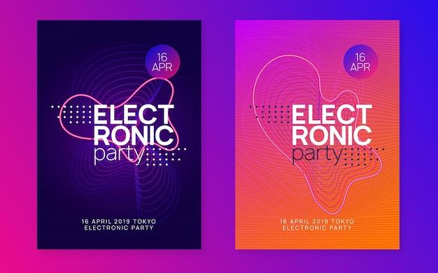 Elektronische partei. dynamisch fließende form und linie. helles showmagazin-set. neon elektronischer partyflyer. electro-dance-musik. techno-fest-event. trance-sound. club-dj-poster.