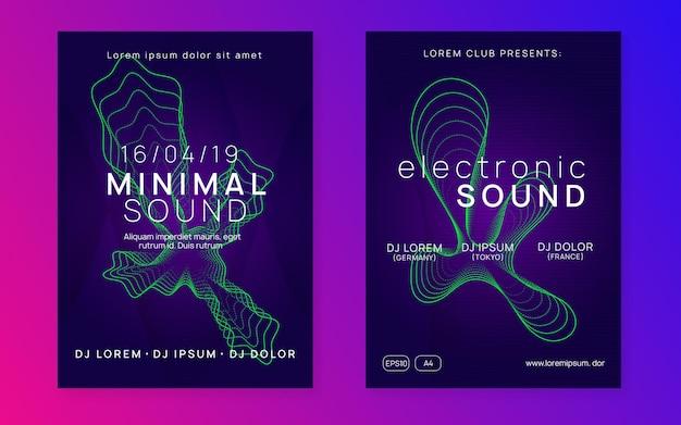 Elektronische partei. dynamische verlaufsform und -linie. helles diskothek-banner-set. neon elektronischer partyflyer. electro-dance-musik. techno-fest-event. trance-sound. club-dj-poster.