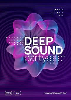 Elektronische partei. dynamische verlaufsform und -linie. wellenförmiges layout der diskothekenbroschüre. neon elektronischer partyflyer. electro-dance-musik. techno-fest-event. trance-sound. club-dj-poster.