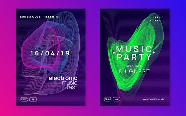 Elektronische partei. kreatives diskothek-magazin-set. dynamisch fließende form und linie. neon elektronischer partyflyer. electro-dance-musik. techno-fest-event. trance-sound. club-dj-poster.
