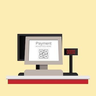 Elektronische qr-code-zahlung der registrierkasse lokalisiert auf hintergrund.