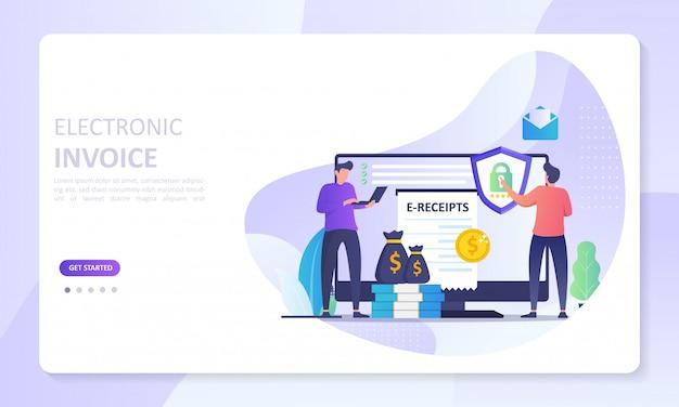 Elektronische rechnung banner landing page, digitale rechnung für online-transaktionssystem
