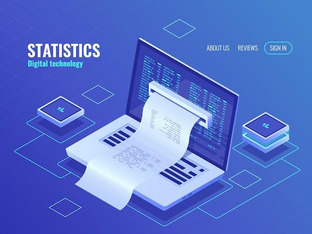 Elektronische rechnung, online-zahlung des systems, finanzberichtkonzept, programmcode