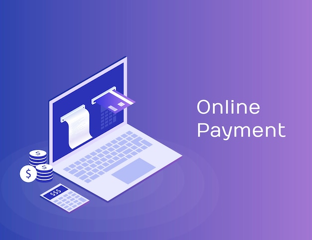 Elektronische rechnung und online-bank, laptop mit scheckband und zahlungskarte. moderne isometrische abbildung 3d