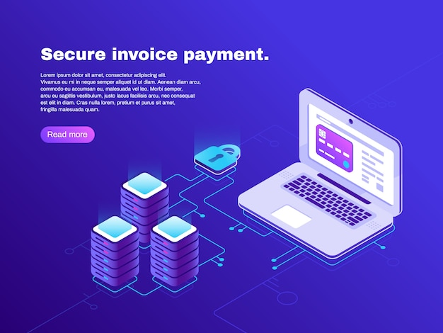 Elektronische rechnungsverbindung von laptop und datenbankbanner
